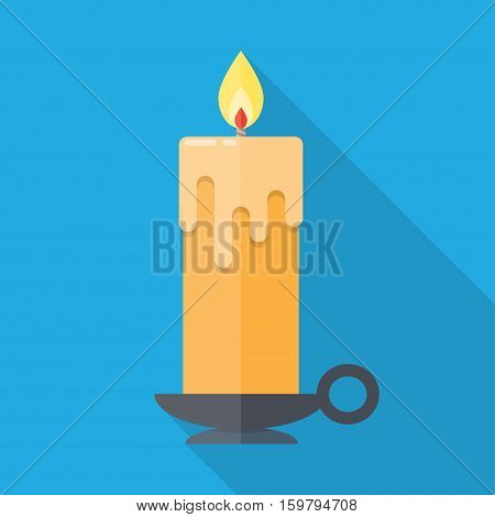 Candle in candlestick isolated illustration on blue background with long shadow