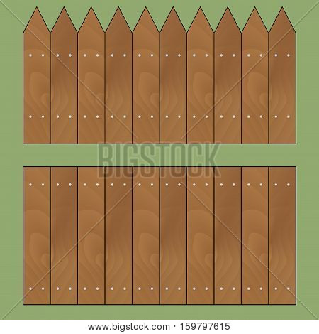 Wooden fence set vector. Garden fence and wooden fence isolated