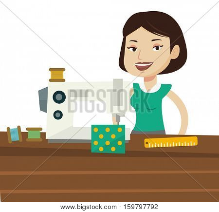 Caucasian seamstress working in cloth factory. Seamstress sewing on industrial sewing machine. Seamstress using sewing machine at workshop. Vector flat design illustration isolated on white background