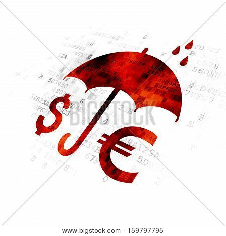 Protection concept: Pixelated red Money And Umbrella icon on Digital background