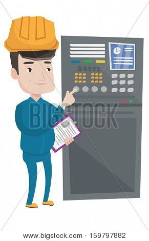 Man working on control panel. Worker in hard hat pressing button at control panel. Engineer standing in front of the control panel. Vector flat design illustration isolated on white background.