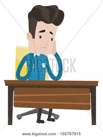 Exhausted student sitting at the table. Tired caucasian student sitting with his head propped on hand. Student having trouble with studying. Vector flat design illustration isolated on background.