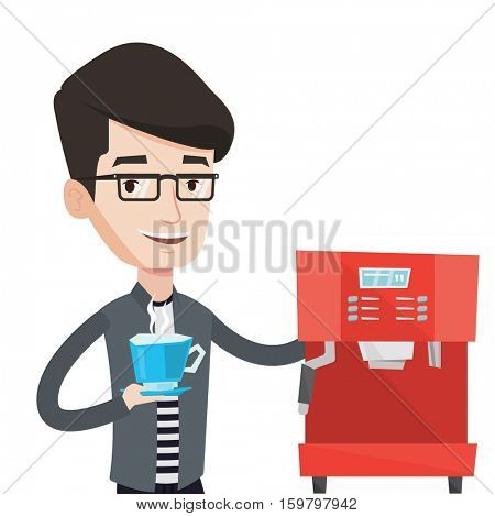 Caucasian man making coffee with a coffee-machine. Man holding cup of hot coffee in hand. Smiling man standing beside a coffee machine. Vector flat design illustration isolated on white background.