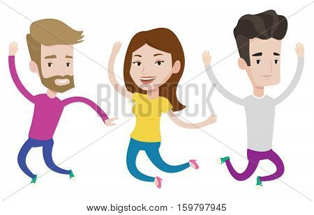 Happy group of young caucasian friends jumping. Group of cheerful friends having fun and jumping. Friendship and lifestyle concept. Vector flat design illustration isolated on white background.