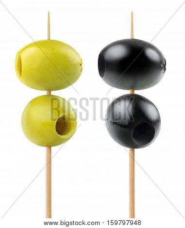 Isolated Olives On Skewers