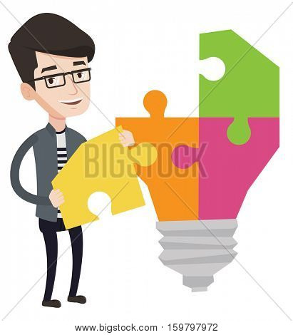 Happy student standing near the light bulb. Young student takes apart light bulb made of puzzle. Smiling student having a great idea. Vector flat design illustration isolated on white background.