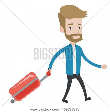 Young caucasian passenger with suitcase. A hipster man with the beard walking with suitcase. Tourist pulling his suitcase. Vector flat design illustration isolated on white background.