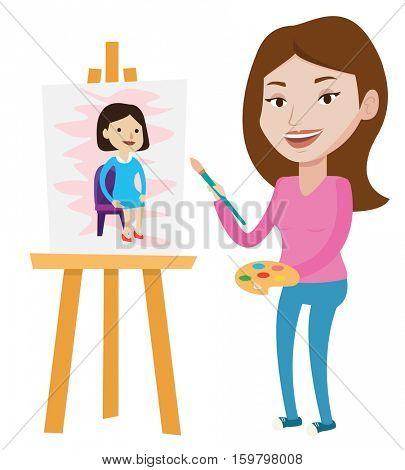 Young caucasian artist painting a female model on canvas. Creative female artist drawing on an easel. Cheerful artist working on painting. Vector flat design illustration isolated on white background.
