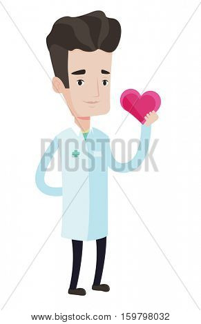 Cardiologist in uniform with heart in hand. Doctor cardiologist holding heart. Concept of healthcare and prevention of heart problems. Vector flat design illustration isolated on white background.