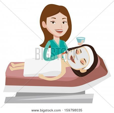 Cosmetologist applying cosmetic mask on face of client in beauty salon. Young woman lying on table in beauty salon during beauty treatment. Vector flat design illustration isolated on white background