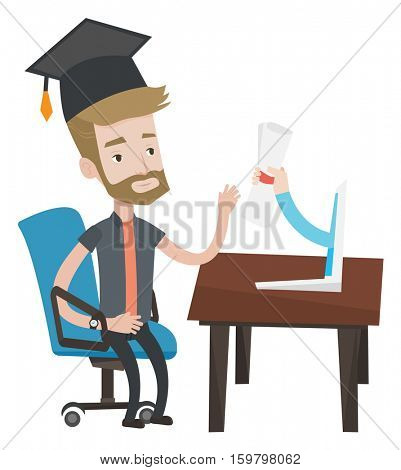 Graduate getting diploma from the computer. Hipster student in graduation cap working on computer. Online education and graduation concept. Vector flat design illustration isolated on white background