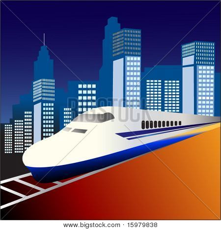 fast train 3 with city behind