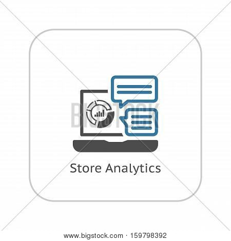 Store Analytics Icon. Business and Finance. Isolated Illustration. Laptop with analytical charts and comments.