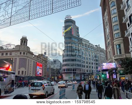 People Walking On Gran Via Madrid