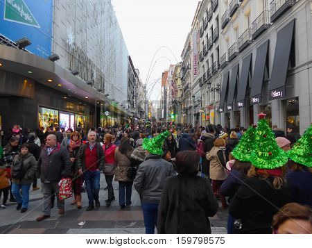 Christmas In Preciados Street Madrid