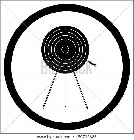 Target goal of black white icon vector illustration. Target icon arrow in bullseye shooting target