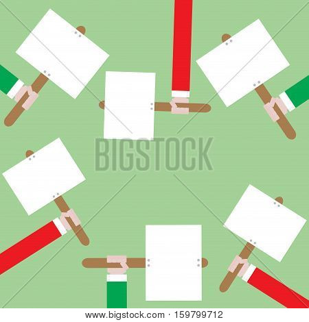 Protest and meeting of with placards banner. Demonstration and revolution riot and rally strike with placard. Vector illustration