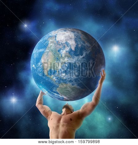 Mythical titan Atlas holding up the planet Earth