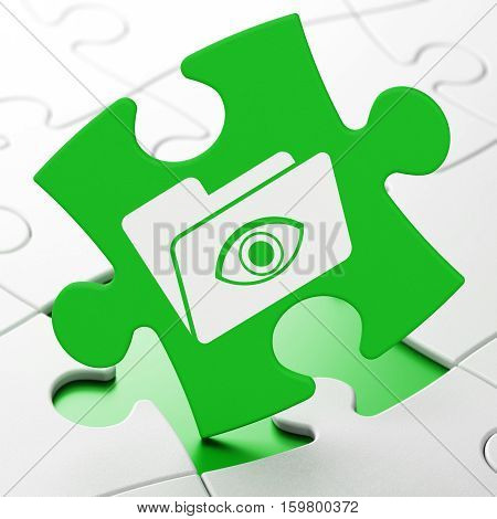 Business concept: Folder With Eye on Green puzzle pieces background, 3D rendering