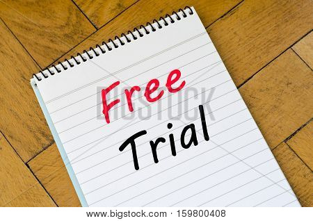 Free trial text concept write on notebook