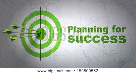 Success business concept: arrows hitting the center of target, Green Planning for Success on wall background, 3D rendering