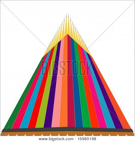 colored pencils in triangle shape