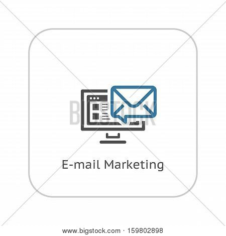 E-mail Marketing Icon. Business and Finance. Isolated Illustration. Desktop computer with e-mail notification.