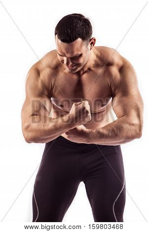 Sexy Athletic Man Showing Muscular Body, Isolated Over White Background.