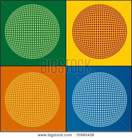 geometric circle 4 color choices (each individual squares)