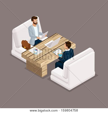 Isometric people isometric businessmen negotiation investment graphic business meeting. Office modern furniture modern technology. Vector illustration.