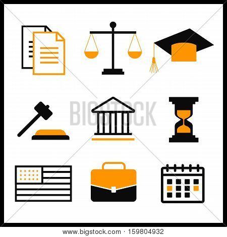 Law and justice thin line vector icons. The legal system judge police vector