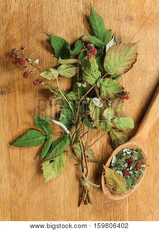 Raspberry. Dried herbs for use in alternative medicine spa herbal cosmetics herbal medicine preparing infusions decoctions tinctures powders ointments butter tea bath.