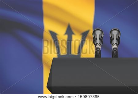 Pulpit And Two Microphones With A National Flag On Background - Barbados
