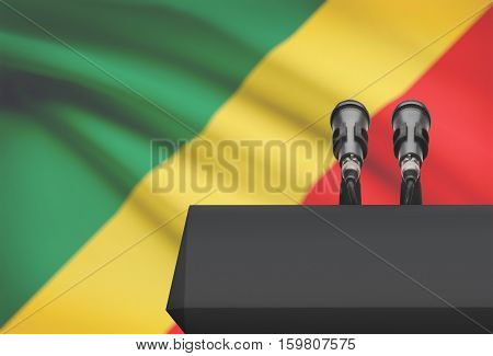 Pulpit And Two Microphones With A National Flag On Background - Congo-brazzaville