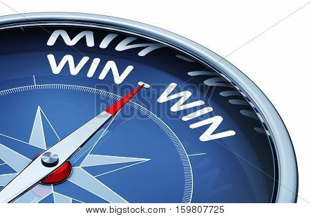 3D rendering of a compass with a win win icon