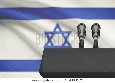 Pulpit And Two Microphones With A National Flag On Background - Israel