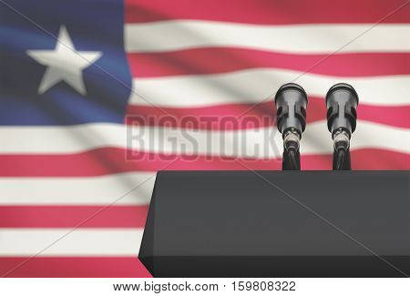 Pulpit And Two Microphones With A National Flag On Background - Liberia