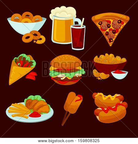 Set of fast food meals. Collection of cartoon snack icons burger and sausage, french fries and hot dog, cola and beer, pizza and bagels. Vector illustration isolated on white.