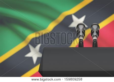 Pulpit And Two Microphones With A National Flag On Background - Saint Kitts And Nevis