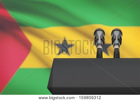 Pulpit And Two Microphones With A National Flag On Background - Sao Tome And Principe