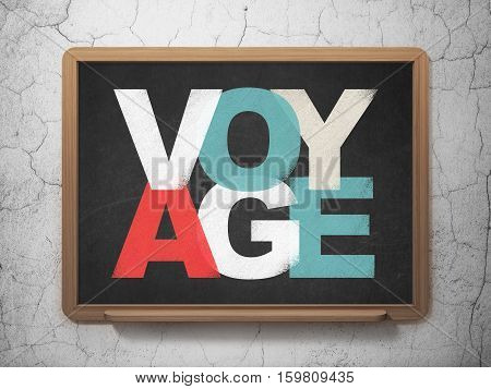 Tourism concept: Painted multicolor text Voyage on School board background, 3D Rendering