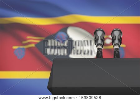 Pulpit And Two Microphones With A National Flag On Background - Swaziland