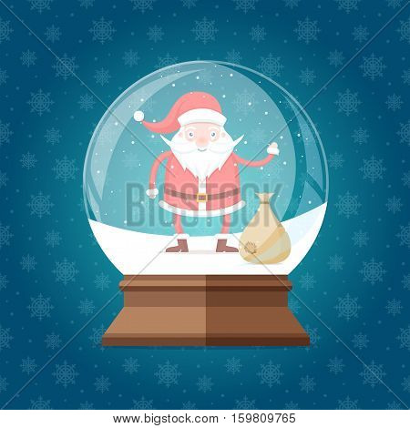 Magic glass snow globe with cute and  happy Santa Claus with bag inside. Christmas winter snowglobe gift on seamless snowflakes pattern vector illustration
