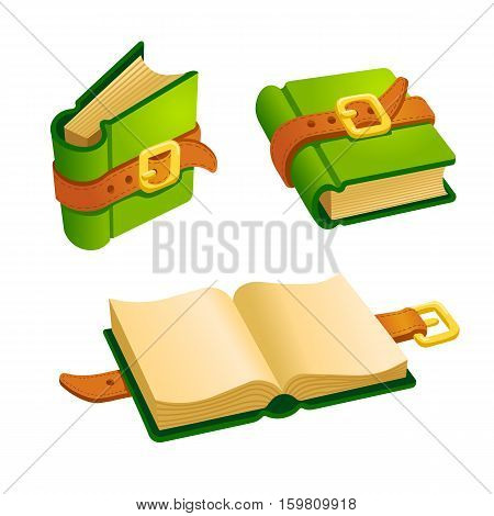 Set of cartoon green book from different angles.Isolated vector elements for game design.