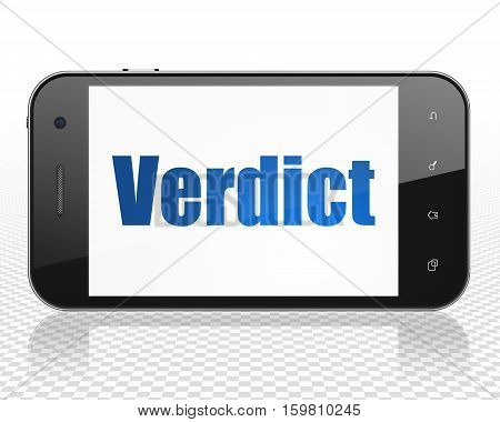 Law concept: Smartphone with blue text Verdict on display, 3D rendering