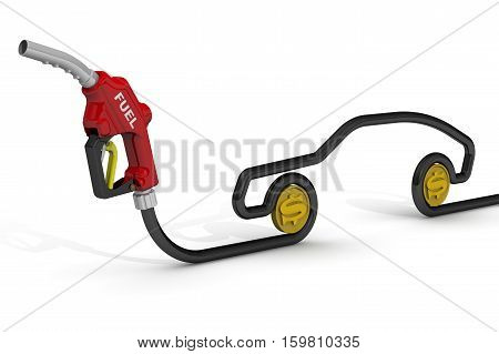 The cost of automotive fuel.Car fuel nozzle the hose in the shape of the car symbol and coins of the US dollar on a white surface. Isolated. 3D Illustration