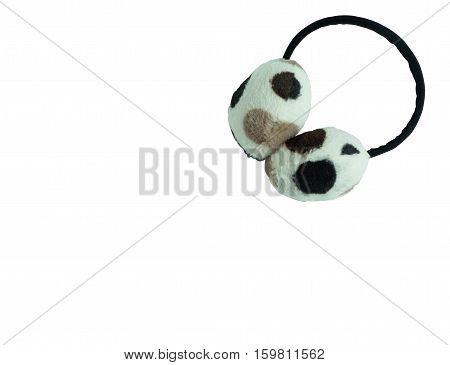 Earmuff on white background Earmuff has black white and brown dots