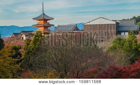 The pagoda of Kiyomizu-dera in Kyoto Japan.Kyoto Japan at Kiyomizu-dera Temple in the autumn.View of Kiyomizu temple in Kyoto Japan. Landcape of Kiyomizu temple in Japan