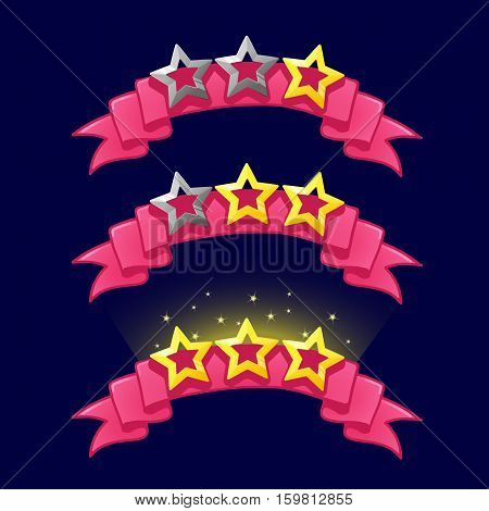 Cartoon stars rank on pink ribbon for game design. GUI icons elements For animation