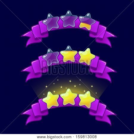 Cartoon game XP rating icons, level complete vector templates, stars rank on purple ribbon, assets for games design, GUI elements.Ranking elements.For animation